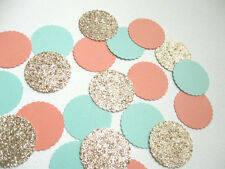 "Confetti 1"" Paper Circles Teal Peach Gold Wedding Birthday Party Decor"