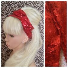 RED SEQUIN BENDY WIRE HAIR WRAP WIRED HEADBAND SCARF STYLE VINTAGE PARTY GLAMOUR
