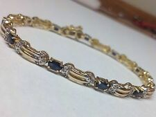 "GORGEOUS BLUE SAPPHIRES AND DIAMONDS SET IN 14K YELLOW GOLD BRACELET 7.5"" LONG"