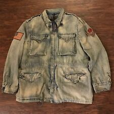 Polo Ralph Lauren Men's Military Field Jacket Coat Army Denim M Patch Flag NWT