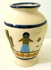 Pottery Vase Woman Blue Skirt Child Cactus Blue Bands Mexican Glazed Brown Tall