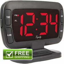 New Equity Tilt Red LED Display Dimmer Digital Electric Alarm Clock with Snooze