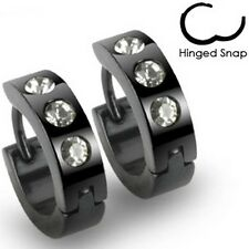 PAIR STAINLESS STEEL CZ BLACK IP TITANIUM HOOP EARRINGS MENS WOMENS