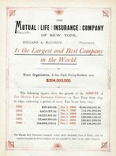 MUTUAL LIFE INSURANCE COMPANY OF NEW YORK LARGEST AND BEST COMPANY IN THE WORLD