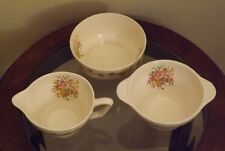 Vintage Cream and Sugar set with matching fruit bowl, flowers & gold trim~White