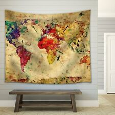Map of the World in Water Colors on a Vintage Background- Fabric Tapestry- 68x80