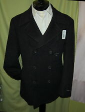 NWT JOHN VARVATOS USA mens double breasted dark charcoal 100% wool peacoat XL