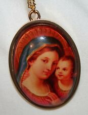 Shiny Rimmed Colorful Goldtone Theotokos Madonna and Child Cameo Medal Necklace