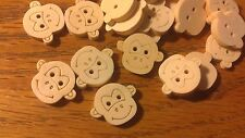 "95 Large Wooden Monkey Face Buttons 20mm 3/4""  Sewing Craft"