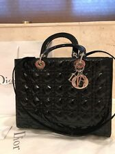 Christian Dior Large Lady Dior Bag In Black Patent Leather W Silver Hardware