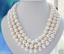 100% Natural 10-11MM WHITE FRESHWATER Cultured PEARL NECKLACE 54""