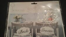 "6.5"" x 10"" Wedding Signs Set of 2 Bride & Groom REVERSIBLE to Thank You"