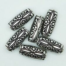 Floral Tube Bead Decorative 25mm (one inch) Antiqued Silver pk/6