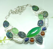 CHRYSOPHRASE ,LAPIS, HEMATITE, DRUSY/DRUZY  & BALTIC AMBER SILVER NECKLACE 19""