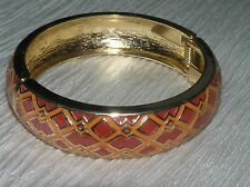 Estate Two Toned Orange Enamel Argyle Goldtone Clamper Bangle Bracelet – 2.25 in