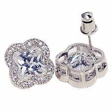 925 Sterling Silver Stud Earrings Flower Crystal Earings Piercing