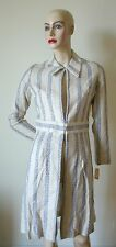60s Vintage beige linen woven blue tribal print coat dress Korvettes XS Deadstoc