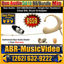 Que Audio DA12 BE Bundle (Beige) Headworn Microphone &  Shure Adapter DAAD SHL