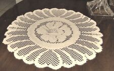"""SET OF 4- WHITE LACE  FLORAL DOILIES, PLACE-MATS 14"""" ROUND,HOME MOMENTS- #204"""