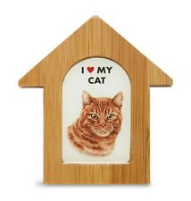 Orange Cat Wooden Dog House Magnet 3.5 X 3 In. Self Standing