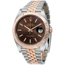Rolex Datejust Chocolate Dial Steel and 18K Everose Gold Jubilee Mens Watch