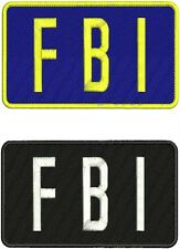 "2 ""FBI"" embroidery patches 4X7 inches hook on back"