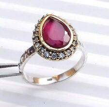 3.80 Gm Stone Ring Ruby Ring Two Tone 925 Solid Sterling Silver Us Size 7 K-923