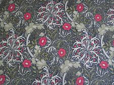 "WILLIAM MORRIS CURTAIN FABRIC ""Seaweed"" 3.40 METRES EBONY/POPPY DM3P224471"