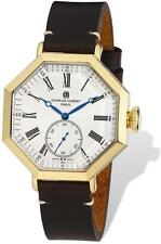 Mens Charles Hubert IP-plated Leather Band Octagonal Watch