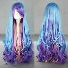 Fashion Long Charm Lolita Curly Wavy Color Mixed Anime Cosplay wig UK