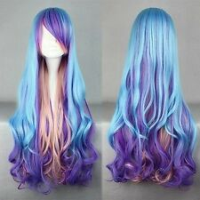 Fashion Long Charm Lolita Curly Wavy Color Mixed Anime Cosplay wig