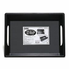 Black Plastic SIMPLE DESIGN SERVING TRAY WITH HANDLES Food Breakfast TRAYS TABLE