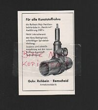 REMSCHEID, Werbung 1960, Gebrüder Rehbein Armaturenfabrik