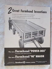 "1950's FARMHAND POWER-BOX & FARMHAND ""90"" WAGON 12 PAGE BROCHURE"