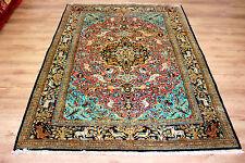 Edler Perser Teppich Orientteppich Ghoum Seide auf Seide 220 x 142 Tiermotive