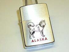 "VINTAGE ZIPPO LIGHTER - CHROME BRUSHED W. NICE MOTIVE ""ALASKA"" - 1980 -RARE"