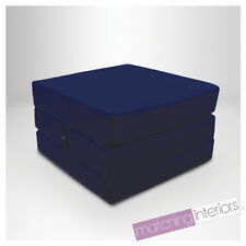 Navy 100% Cotton Fold Out Single Z Bed Cube Guest Futon Chair Bed Budget Studio