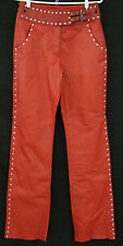 HARLEY DAVIDSON Size 4 Women's Solid Red Leather Silver Studded Motorcycle Pants