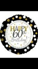 "18"" Black, White, Gold & Silver Dots Happy 60th Birthday Foil Balloon 60"