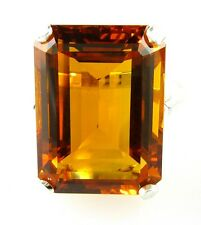 Stunning Very Large Emerald Cut Created Gem Citrine Ring 925 Sterling Silver
