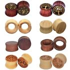 Pair Ear Tunnel Plugs Natural Bamboo Wood Saddle Double Flared Ear Gauge Earlets