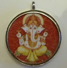 Ganesh Round Pendant 40mm Diameter Cased in White Metal (PD2)