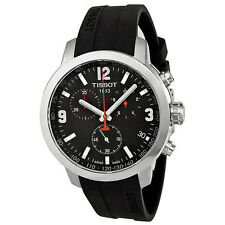 New Tissot PRC 200 Chronograph Black Dial Rubber Men's Watch T0554171705700