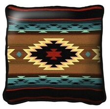 SOUTHWEST INDIAN TEAL WESTERN PATTERN TAPESTRY THROW PILLOW 17x17