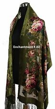Handmade Elegant 100% Silk Burnout Velvet Vintage Floral Scarf Shawl Wrap, Olive