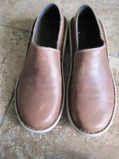 Chacos Vibram brown leather slip on shoes clogs slides 10 boat loafers women's