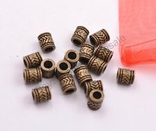 20/50/100Pcs Tibetan Silver Tube Big Hole Spacer Beads Jewelry Findings  CA3028