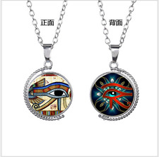 The eye of Horus time evil amulet double glass pendant rotating sweater chain 01
