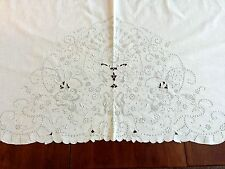Vintage Madeira Flat Bed Sheet,Cotton  Embroidery, Cut Work, Overlay