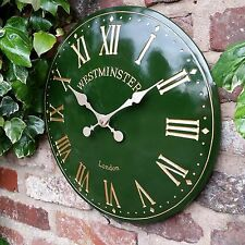Outdoor indoor Green Garden Wall Clock  Hand Painted church clock 38cm 1064grn